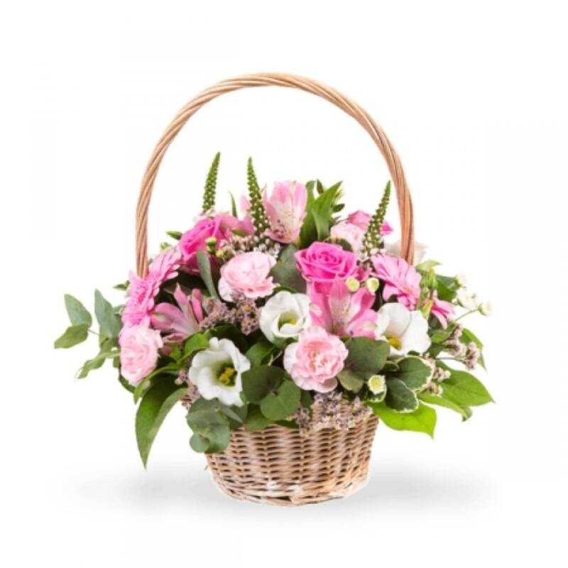 Rózsaszín Piknik Virágkosár