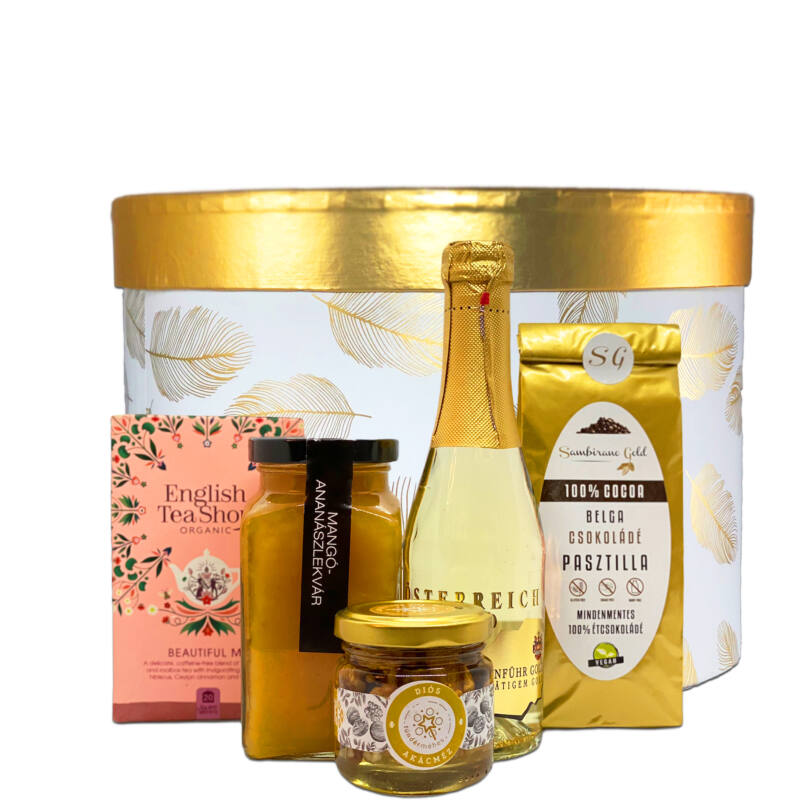 Arany pezsgős ajándékbox