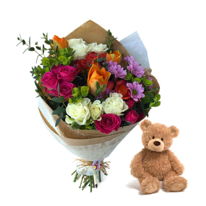 Virág és maci ajándék küldés